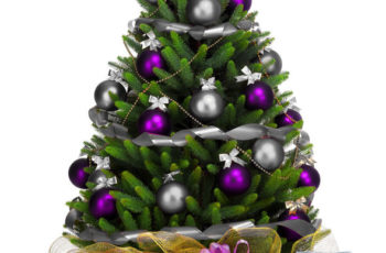 47240842 - decorated christmas tree on white background.